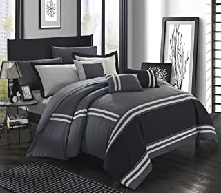 Chic Home Zarah 10 Piece Comforter Bedding with Sheet Set and Decorative Pillows Shams, Queen, Grey