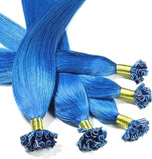 "Hair2Heart 200 x 0,5g pre-bonded U-tip strands - 12"", colour #blue, straight"