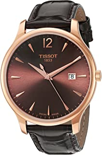 Tissot Womens Tradition Swiss Quartz Gold and Leather Watch, Color:Brown (