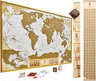 MyMap Antique Scratch Off World Map Wall Poster with US States, 35x25 inches, Includes Pins, Buttons and Scratcher, Glossy...