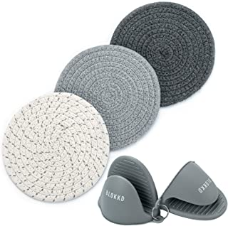 BLOKKD Trivets for Hot Pots and Pans and Silicone Pot Holders (Set of 5) - 100% Cotton Trivet Mats, Hot Pads and Oven Mitt...