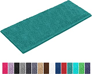 LuxUrux Bathroom Rug Mat -Extra-Soft Plush Bath Shower Bathroom Rug,1'' Chenille Microfiber Material, Thickening Shaggy Rug, Super Absorbent. Machine Wash & Dry (27 x 47 Inches, Turquoise)