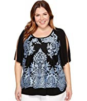 Karen Kane Plus - Plus Size Split Sleeve Lace Overlay Top