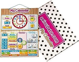 Magnetisk Kalenderklocka för Barn, 43x32cm | Lek i Utbildningssyfte för att Lära Sig om Datum och Tid, för Vägg och Kylskå...