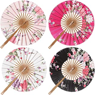 BABEYOND Spanish Floral Folding Hand Fan Vintage Handheld Lace Folding Fan with Different Patterns Fabric Folding Fan for Wedding Dancing Party (Chinese Rose-Round Fan)