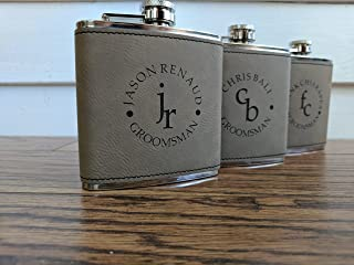 Light Brown Engraved Custom Groomsmen Flasks