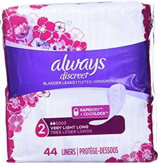 Always Discreet Incontinence Liners for Women, Very Light Absorbency, Long Length, 44 Count