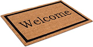 BIRDROCK HOME Welcome Coir Doormat - 24 x 36 Inch - Oversized Welcome Mat with Black Border and Natural Fade - Vinyl Backe...