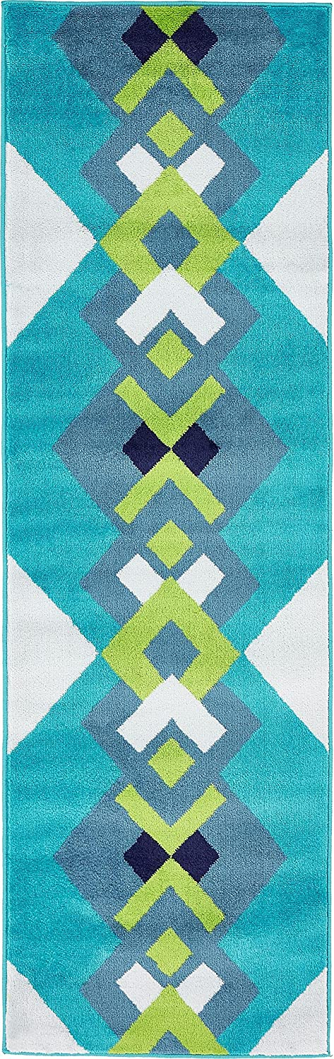 Unique Loom Metro Collection Geometric Squares Abstract Bright colors Turquoise Runner Rug (2' x 7')