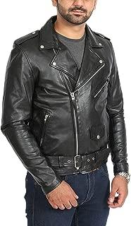 Mens Black Leather Biker Jacket Fitted with Belt Retro Brando Style Coat - Elvis