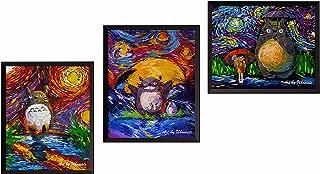 Uhomate 3 pcs My Neighbor Totoro in Rain Hayao Miyazaki Wall Decor Vincent Van Gogh Starry Night Posters Wall Art Anniversary Gifts Baby Gift Wall Decor Bedroom Bathroom Artwork M041 (8X10)