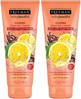 Freeman Clearing Peel Off Clay Facial Mask, Cleansing and Oil Absorbing Beauty Face Mask with Sweet Tea and Lemon, 6 oz, 2...