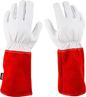 NoCry Long Leather Gardening Gloves - Near Puncture Proof with Extra Long Forearm Protection and Reinforced Palms and Fingert