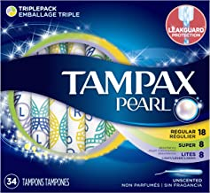 Tampax Pearl Plastic Tampons Light/Regular/Super Absorbency Multipack, Unscented, 34 Count (Pack of 6) (204 Total Count)