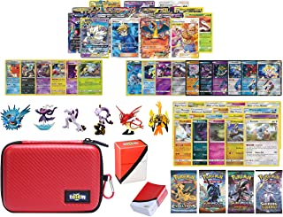Totem World Pokemon Premium Collection 100 Cards with Tag Team GX Mega EX Trainer or Shining Holo, 10 Rares, 4 Booster Packs, 100 Protector Sleeves, Poke Ball Theme Card Case, Deck Box and Figure