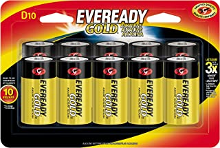 Eveready Gold D Cell Alkaline Batteries, Long-Lasting Reliable Power, 10 Year Power Storage, 10 Count