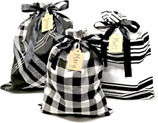 Appleby Lane Reusable Fabric Gift Bags (Large Set, Plaids & Stripes) Set of 3 Bags, Two 16x20 inch and one 12x16 inch