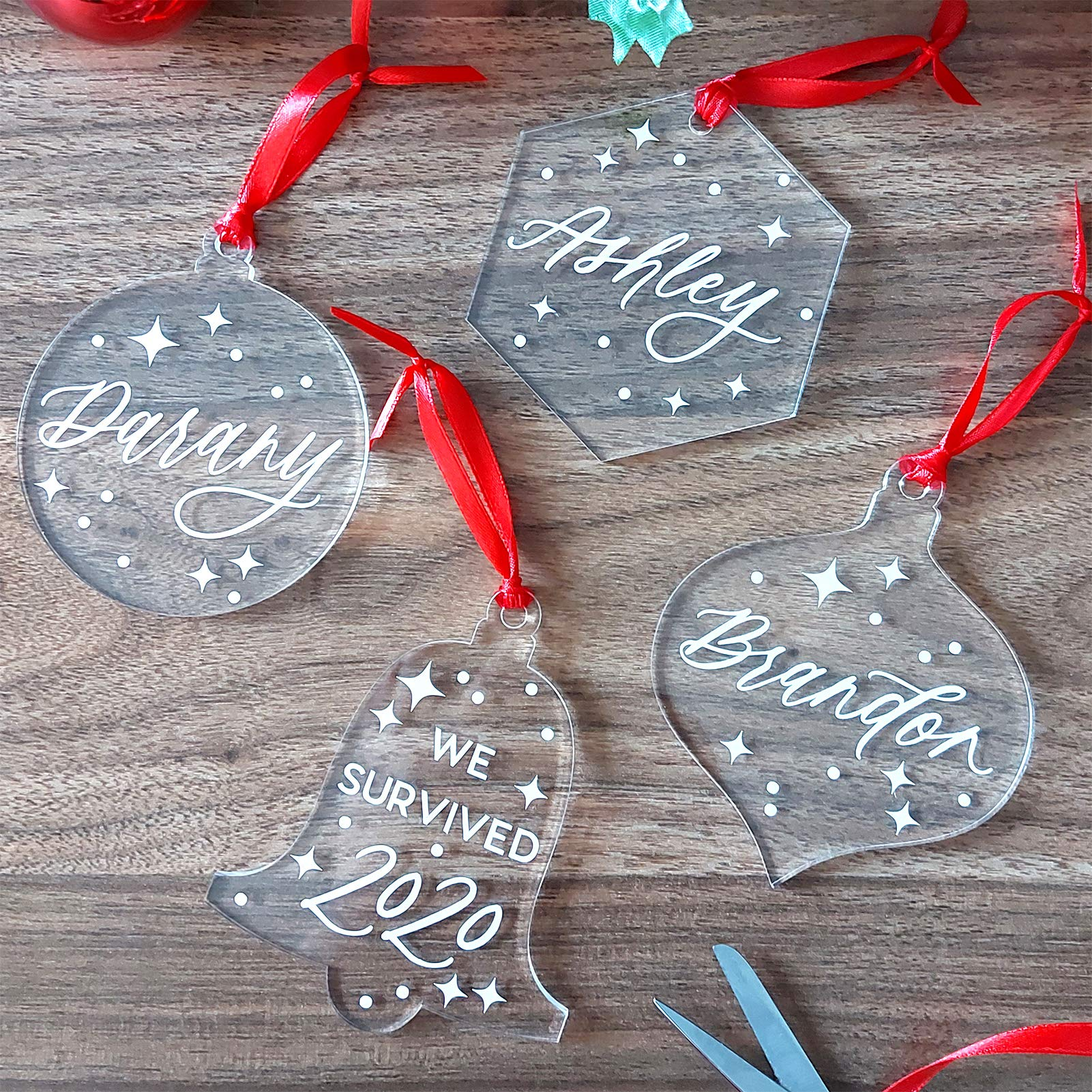 """5 ACRYLIC STARS CHRISTMAS ORNAMENTS 3 3//4"""" with SILVER RIBBONS"""