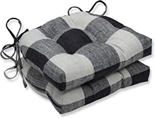 Pillow Perfect Check Please Thunder Chair Pad, Reversible, Black, 2 Piece