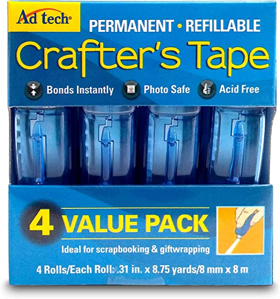 Adtech 05603 Glue Runner Permanent 35Yds Total 4 Pack Each 0 31 X 315 Multicolor