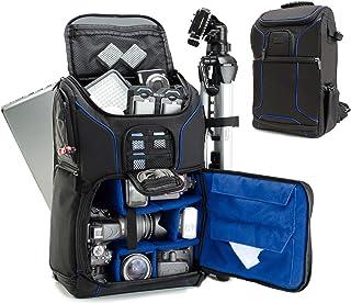 USA GEAR Mochila Completa para Cámara DSLR Funda Resistente al Agua Compartimento para Portátil y divisores para Meter un Tripode Objetivos Compatible con Canon Nikon Sony y Muchas más - Azul