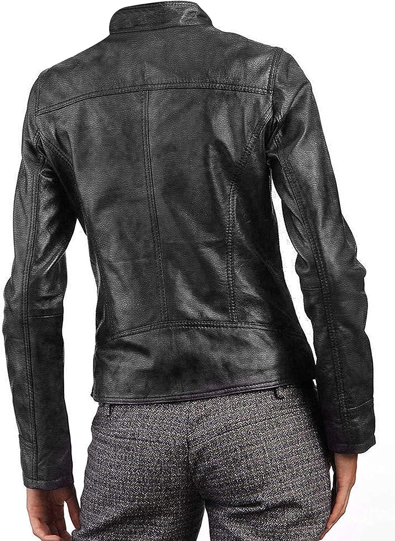 III-Fashions Women's Slim Fit Casual Biker Black Motorcycle Lambskin Leather Jacket   Cafe Racer Jacket