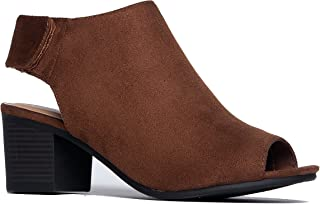 Harlyn Ankle Bootie - Adjustable Band Peep Toe Low Stacked Heel Boots