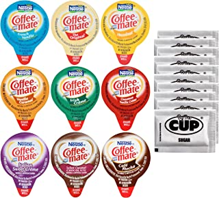 Coffee Mate .375oz Non-Dairy Liquid Creamer Singles - 9 Flavor Assortment, Hazelnut, French Vanilla, Original, Cafe Mocha, Salted Caramel (180 Pack) - Exclusive By The Cup Sugar Packets