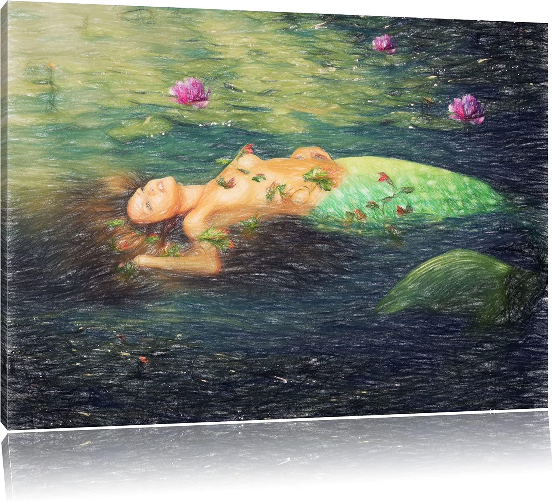 Schöne Meerjungfrau im Wasser liegend Bunstift Effekt, Effekt, Effekt, Format  120x80 auf Leinwand, XXL riesige Bilder fertig gerahmt mit Keilrahmen, Kunstdruck auf Wandbild mit Rahmen, günstiger als Gemälde oder Ölbild, kein Poster oder Plakat B01JAD 5e4ef1