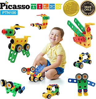 PicassoTiles Learning S.T.E.A.M. Engineering Toy Kit 100 Piece Building Block 3D Construction Stacking Set 100pc Educational Blocks w/Idea Book Included, Anchors, Motor Wheel, and Storage Box PTN100
