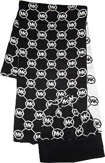 Michael Kors Women's Circle Logo Knit Scarf & Beanie Hat Set (BLACK/WHITE)