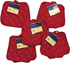 5 (Five) Sets of The Home Store Cotton Pot Holders, 2-ct. Color Variety Pack Kitchen Cooking Chef Linens (Reds)