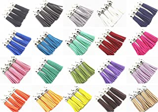QIANHAILIZZ Mixed Color Faux Suede Tassel Leather Charm with CCB Cap for Keychain Cellphone Straps Jewelry Charms (40 Silver Tassel of 2-1/4inch)