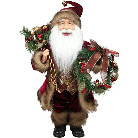 Amazon Com Northlight Country Cabin Santa Claus In Burgundy Holding A Wreath And Gift Bag Christmas Figure 18 Home Kitchen