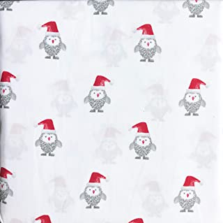 Cynthia Rowley 3 Piece Twin Size Bed Sheet Set Extra Deep Pockets Little Gray Christmas Owls in Santa Hats