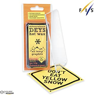 Don't Eat Yellow Snow Snowboard/Ski Wax from Deys - Free Plexi Scraper. Gift Ready Combo