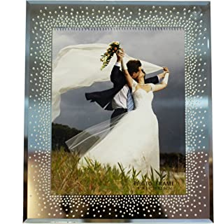 8 x 10 Mirror Picture Frame with Elegant Rhinestones Details - Wedding Collection - Beveled, Mirrored, Bling. The Perfect Way to say I Love You - 8 by 10-inch