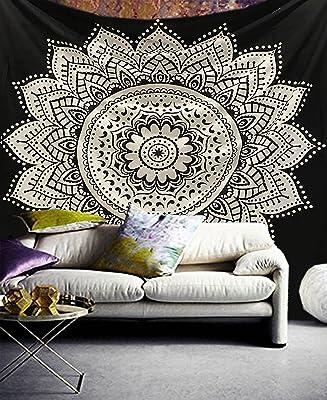 Exclusivo tapiz Raajsee con diseño de mándala, color blanco con ...
