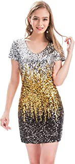 MANER Women s Sequin Glitter Short Sleeve Dress Sexy V Neck Mini Party Club  Bodycon Dresses 12a19c0ce