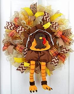 Thanksgiving Turkey Wreath | Fall Deco Mesh Wreath | Turkey Legs | Front Door Wreath; Brown Orange
