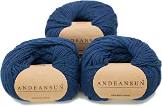 100% Baby Alpaca Yarn (Weight #3) DK - Set of 3 - AndeanSun - Luxuriously Soft for Knitting, Crocheting - Great for Baby Garments, Scarves, Hats, and Craft Projects - (Steel Blue)