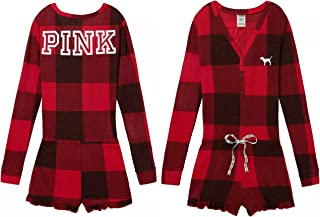 Victoria's Secret, Pink Red Plaid Thermal Short Romper Pajama, Size Large, NWT