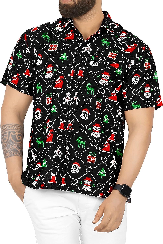 LA LEELA Mens Christmas Shirts Santa Claus Beach Party Front Pocket Button Down