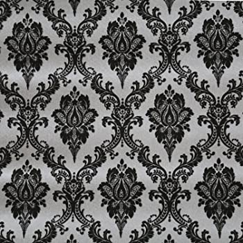 Graphic Damask Wallpaper BL0396 floral medallion black washable prepasted