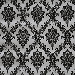 Blooming Wall Black Damasks Peel&Stick Wallpaper Self-Adhesive Wall Mural Wall Decor Contact Paper, 48 Square Ft/Roll (Black)
