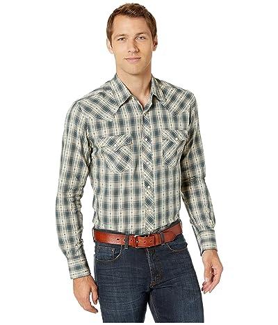 Wrangler Retro Premium Long Sleeve Snap Dobby Plaid (Khaki/Teal) Men
