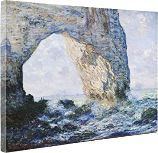 Niwo Art - The Manneporte, by Claude Monet - Oil Painting Reproductions - Giclee Canvas Prints Wall Art for Home Decor, Stretched and Framed Ready to Hang