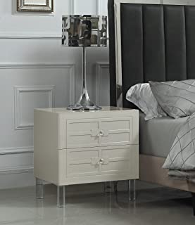 Iconic Home Naples Nightstand Side Table with 2 Self Closing Drawers Lacquer Acrylic Knob Legs, Modern Contemporary, Beige
