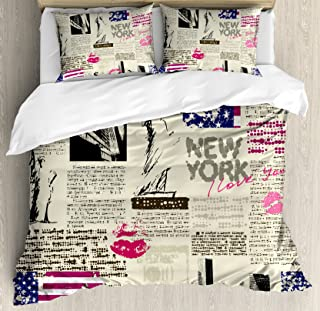 Ambesonne United States Duvet Cover Set, Newspaper New York with Sketchy of Liberty and Texts Lipstick Vintage, Decorative 3 Piece Bedding Set with 2 Pillow Shams, King Size, Beige