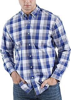 CHIPHELL Men's Regular-Fit Long-Sleeve Plaid Casual Button-Down Poplin Shirt